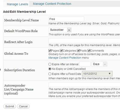 screenshot showing how to create a free membership level with wp emember plugin