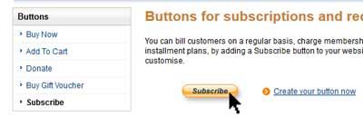 screenshot showing how to create a membership subscription button using paypal