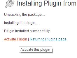 screenshot showing how to activate the wordpress plugin