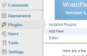 screenshot showing how to add a new plugin from the wordpress dashboard