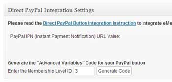 screenshot showing the direct paypal integration option of wp emember plugin