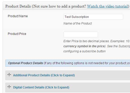 screenshot showing how to create a wordpress paypal subscription
