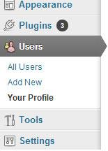 screenshot showing how to access the profile menu of wordpress dashboard