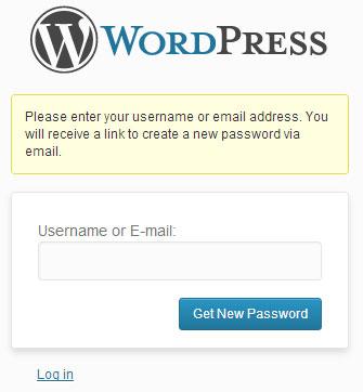 screenshot showing the reset password option of wordpress admin login page
