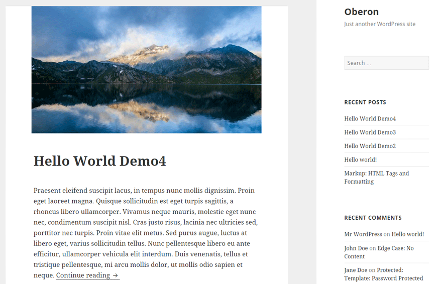 screenshot showing a demo of oberon child theme for wordpress