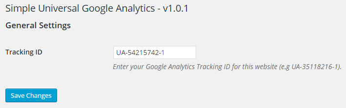 screenshot showing the universal google analytics wordpress plugin settings