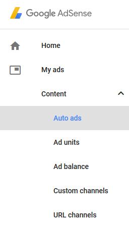 screenshot showing the auto ads menu in a google adsense account