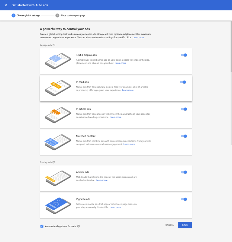 screenshot showing the auto ads settings in a google adsense account