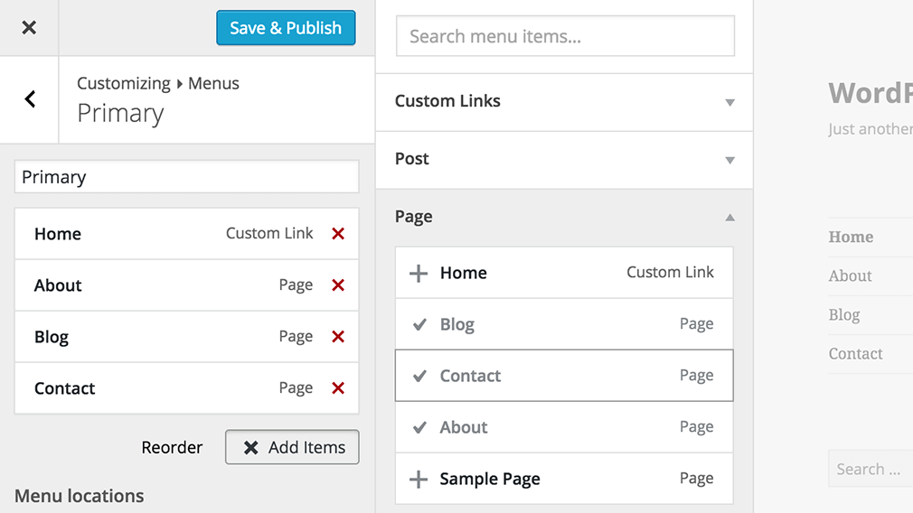 screenshot showing menus in the wordpress 4.3 customizer