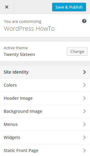 screenshot of site identity menu in wordpress