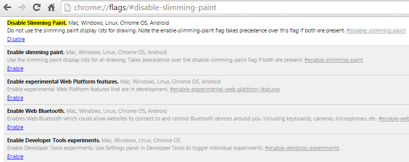 screenshot of slimming paint options in google chrome