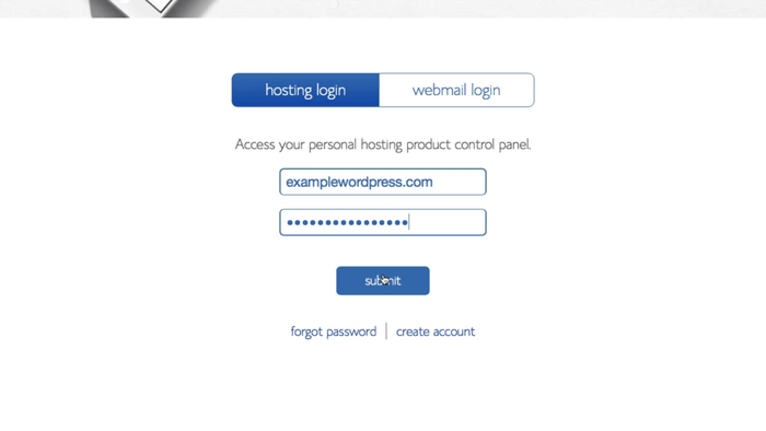 screenshot showing how to login to bluehost control panel