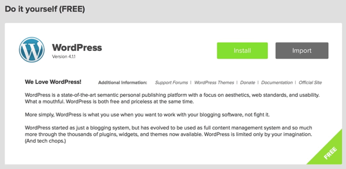 screenshot of mojo marketplace on bluehost wordpress installation