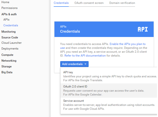 screenshot showing how to add oauth credentials to access gmail api
