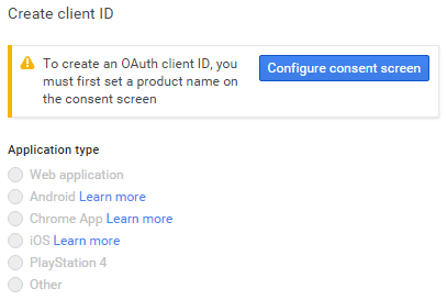 screenshot showing how to configure consent screen to create an oauth client id