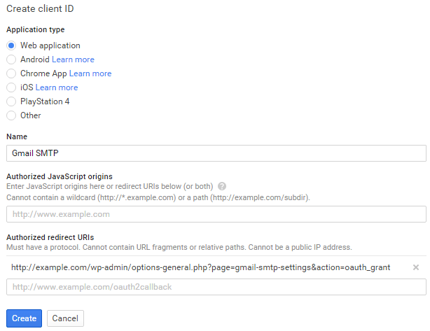 screenshot showing how to create a client id by creating a new web app in the google developers console