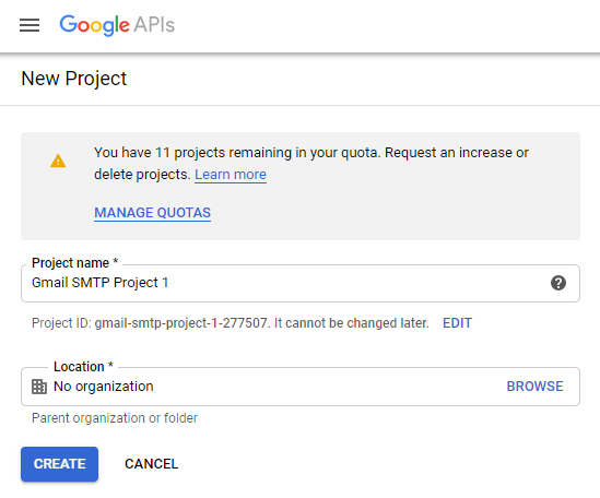 screenshot showing how to create a new project in the Google Developers Console