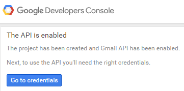 screenshot showing that gmail api has been enable on the project