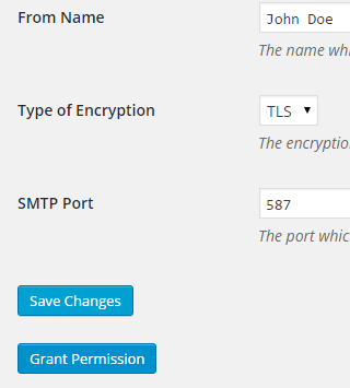 screenshot showing how to grant permission from the gmail smtp settings