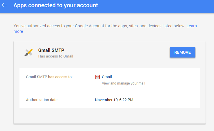screenshot showing how to remove access from an application in the google developers console