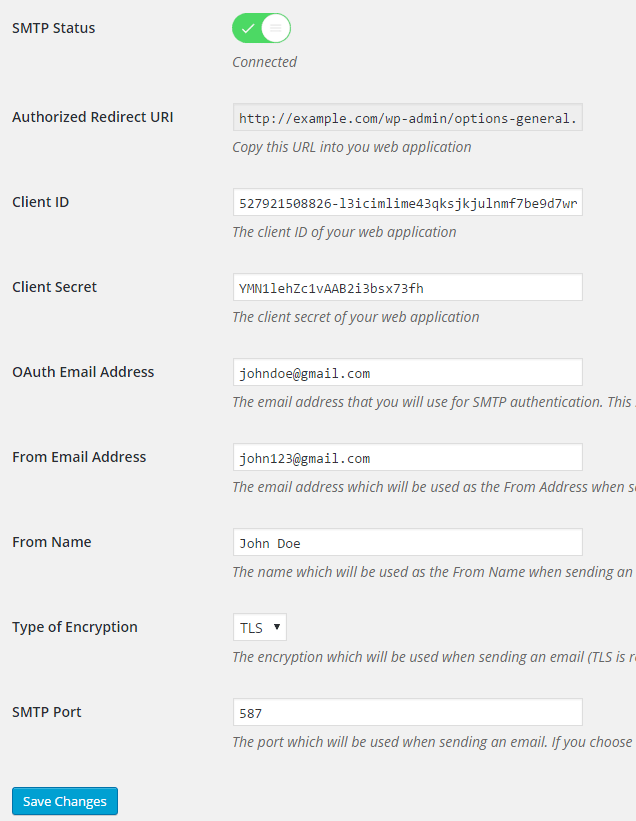 screenshot of gmail smtp settings