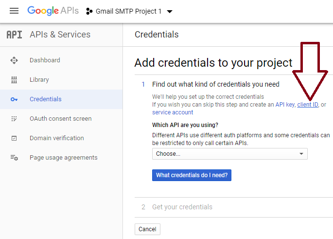 screenshot showing how to create OAuth Client ID for an API in Google Developers Console