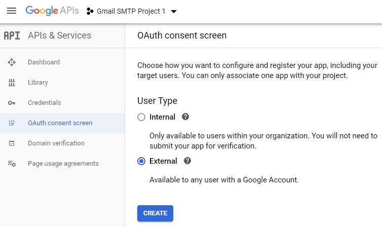 screenshot showing the oauth consent screen in the google developers console