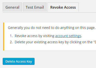 screenshot showing the revoke access settings of gmail smtp plugin