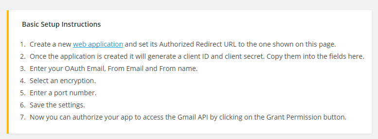 screenshot showing how to go to the google web application link from the gmail smtp plugin settings