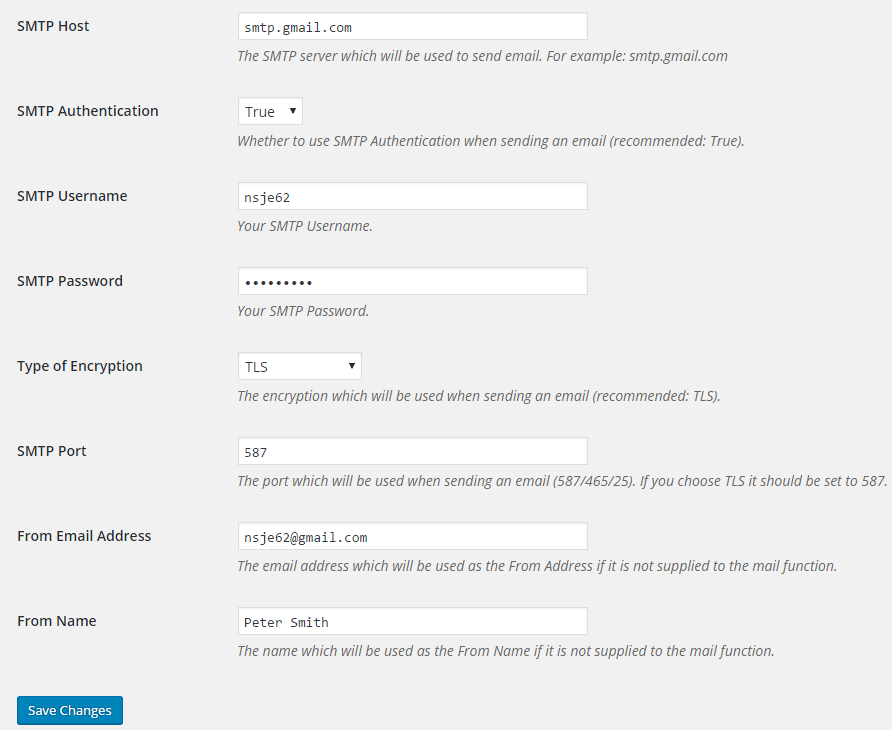 screenshot of SMTP Mailer plugin settings