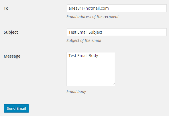 screenshot of test email menu in the SMTP Mailer plugin