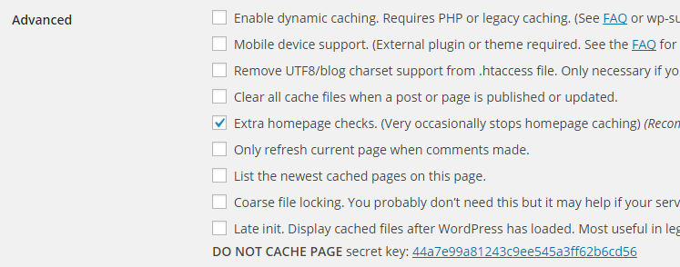 screenshot showing the advanced section of super cache plugin
