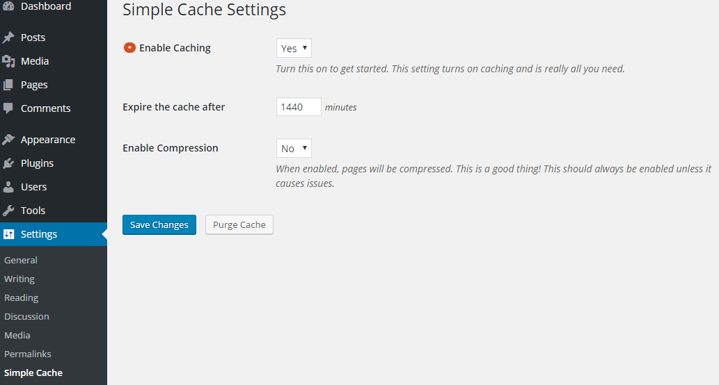 screenshot showing the settings menu of Simple Cache plugin