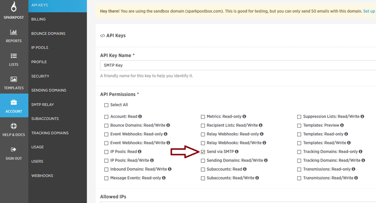 screenshot showing how to create a new API key in SparkPost