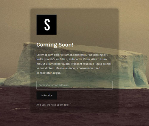 screenshot of a coming soon page created by the Minimal Coming Soon & Maintenance Mode plugin