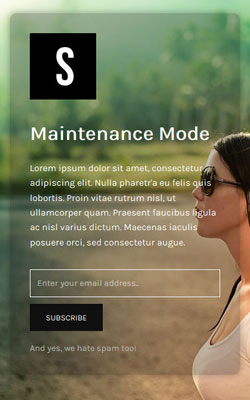 screenshot of a maintenance mode page created by the Minimal Coming Soon & Maintenance Mode plugin