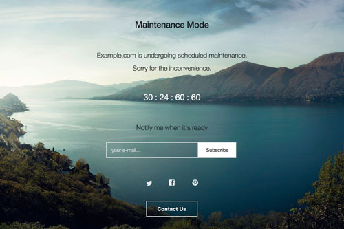 screenshot of a maintenance mode page created by the WP Maintenance Mode plugin