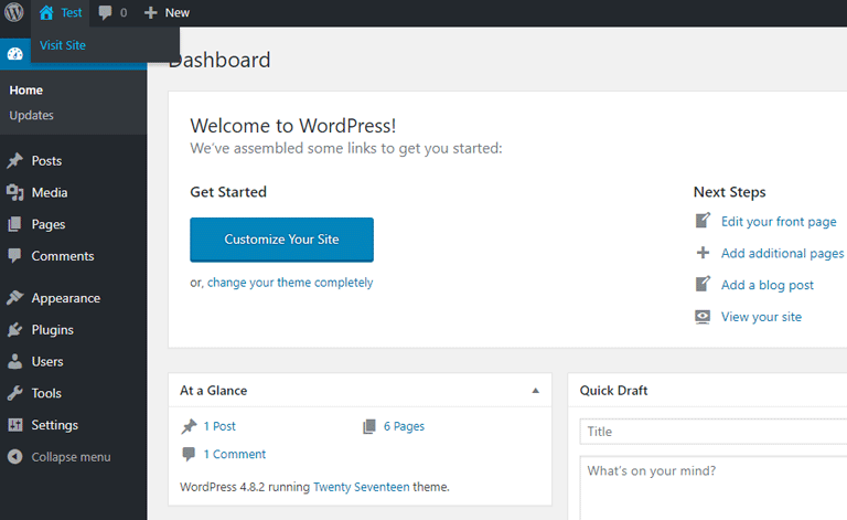 screenshot showing the WordPress admin dashboard on bluehost