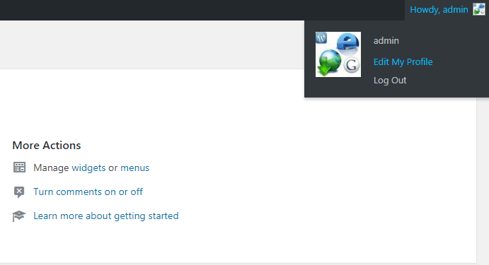 screenshot showing the howdy menu in WordPress on bluehost