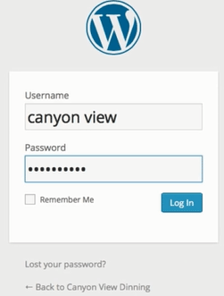 screenshot showing the WordPress login form on bluehost