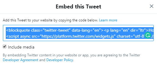 screenshot showing how to copy the tweet embed code from twitter