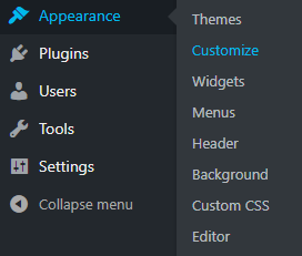 screenshot showing how to navigate to the appearance customize menu in wordpress
