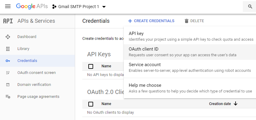 screenshot showing how to select OAuth client Id under CREATE CREDENTIALS in the google developers console