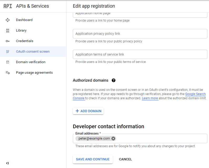 screenshot showing part 2 of the consent screen 2 in the google developers console