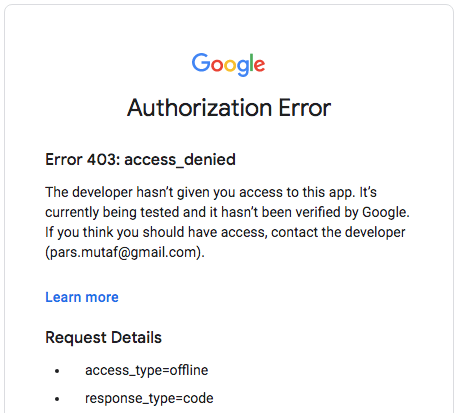 screenshot showing error 403 access denied error when trying to authorize an app in google developer console