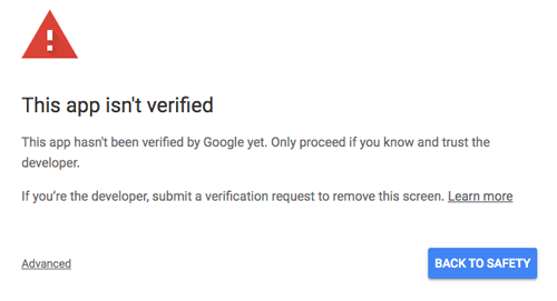 screenshot of the this app isn't verified error when authorizing a google app